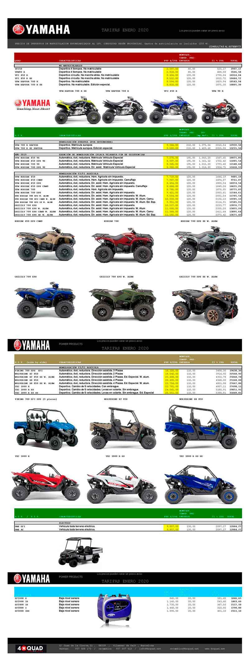 Yamaha 4xquad tarifa precios